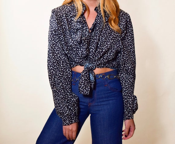 1980s authentic vintage black + white polka dot button down ruffle long sleeve blouse with ruffle collar women's size L-XL