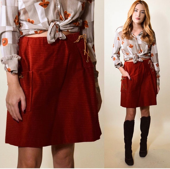 Vintage 1970's red maroon high waisted corduroy skirt with rawhide lace up with leather tie pocket  women's size small
