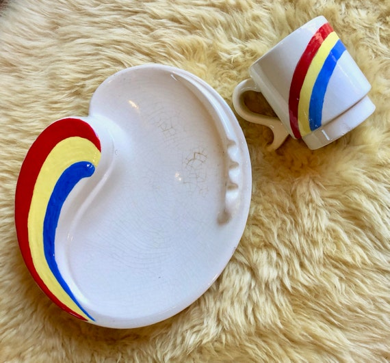 1970s authentic vintage groovy hippie rainbow ceramic coffee mug + large matching ashtray set