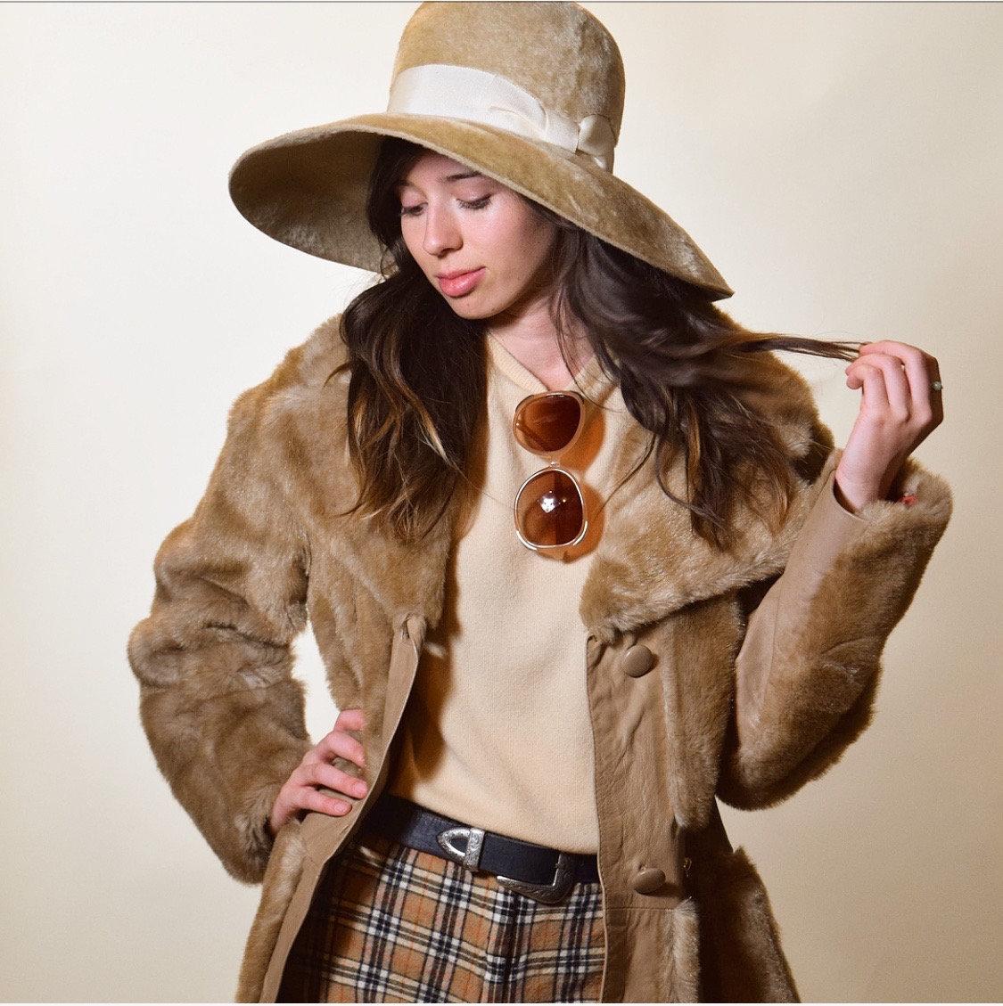 538737058 1960s authentic vintage designer Herbert Johnson faux fur wide brim ...
