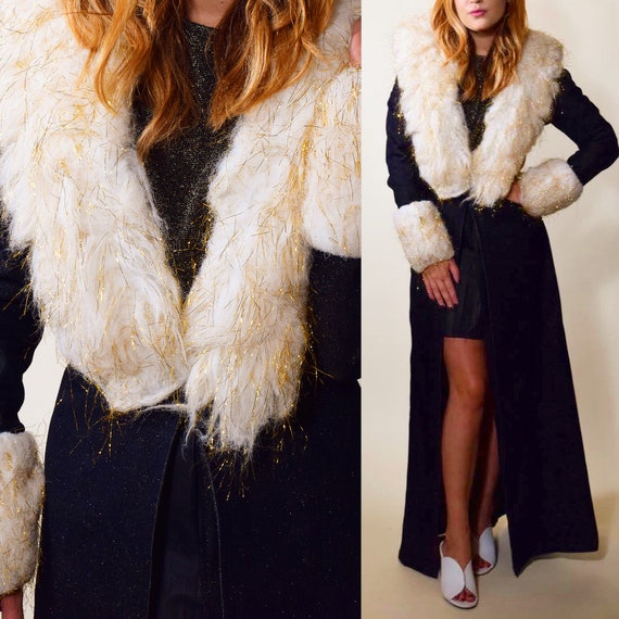 Authentic vintage Penny Lane style faux fur shimmery collar duster coat women's size XS-S