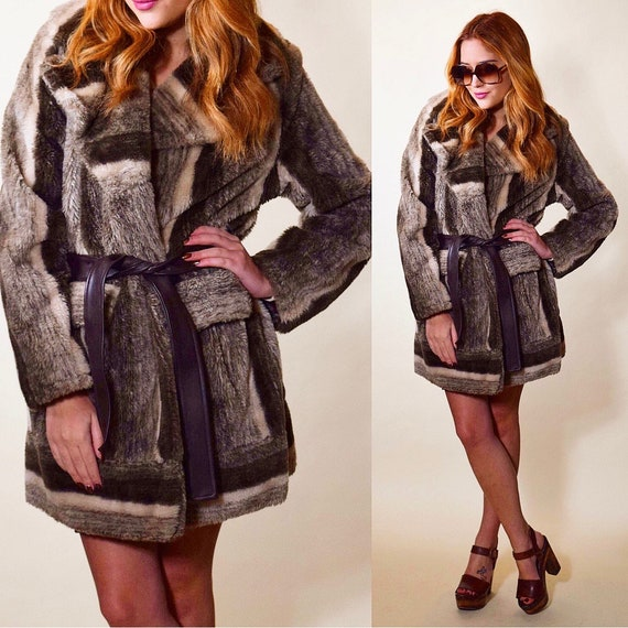 1960s -1970s authentic vintage Rock N Roll faux fur stripe black + brown town tone winter coat women's size Small - Medium