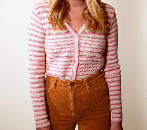 Authentic Vintage Jospeh Magnin 1960s rainbow hippie mod button down cardigan sweater women's size small / medium