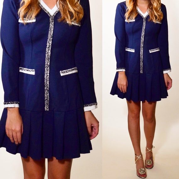 Authentic vintage navy blue + White long sleeve drop waist mini preppy dress women's size XS-S