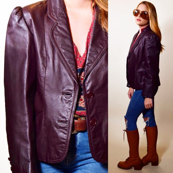 1970s purple maroon/brown tone leather classic button down collared cropped jacket women's size Small