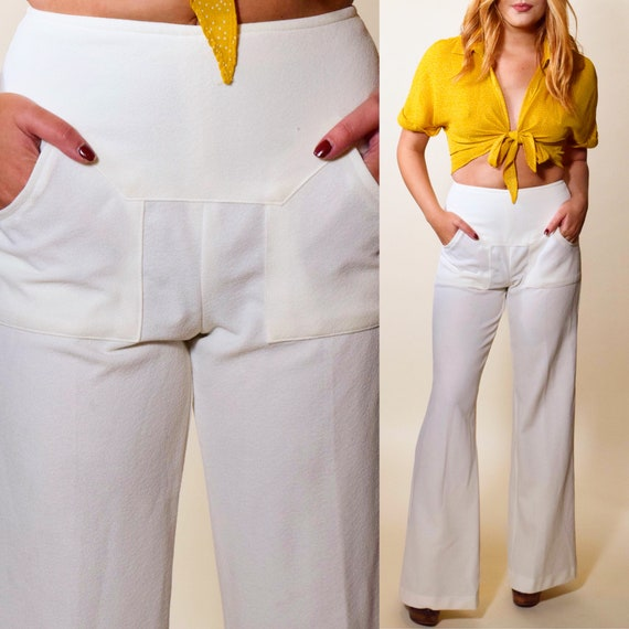 "1970s authentic vintage white polyester mid rise disco wide leg bell bottoms women's size small 26 "" waist"
