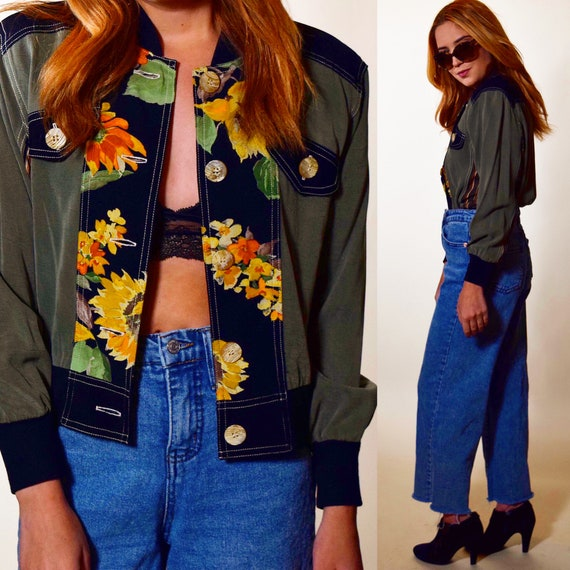 1980s authentic vintage green + floral button down cropped bomber jacket women's size small-medium