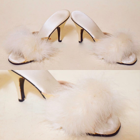 "1960s authentic vintage off white satin boudoir stiletto Old Hollywood Glam 3.5"" Heels with white feathers women's US size 7"