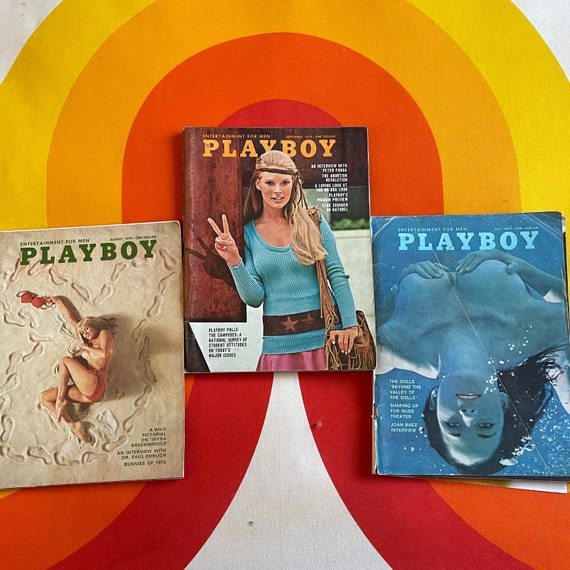 Authentic vintage 1970s lot to 3 Playboy Magazines