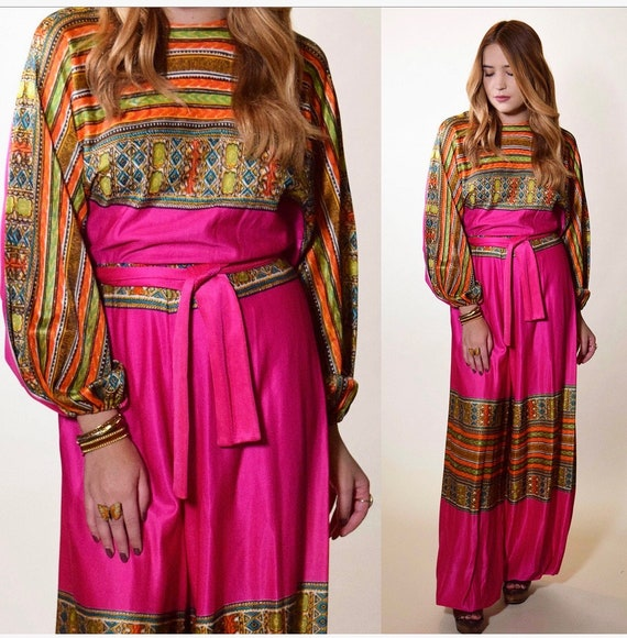1960s RARE authentic vintage hot pink wide leg + long sleeve psychedelic patterned jumpsuit women's size small - medium