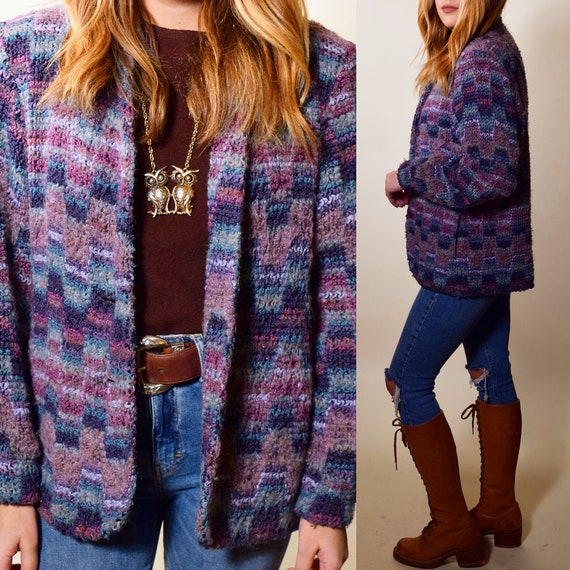 1970s-1980s authentic vintage woven purple,blue,gray multi color pattenred wool sweater blazer jacket  women's size small-medium