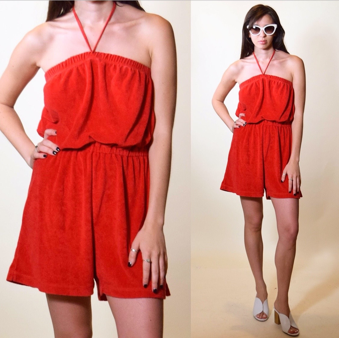 134ec303a7 Vintage red terry cloth Roller Girl Boogie Nights retro tube top romper ...