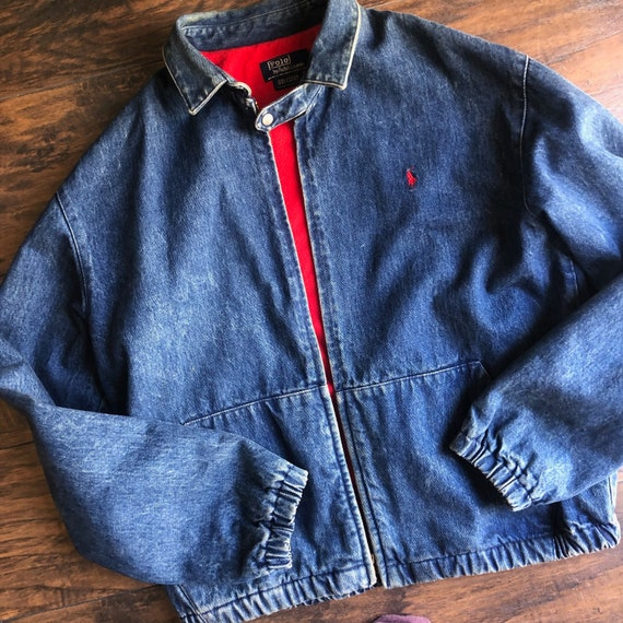 1980s Polo By Ralph Lauren denim bomber collared … - image 1