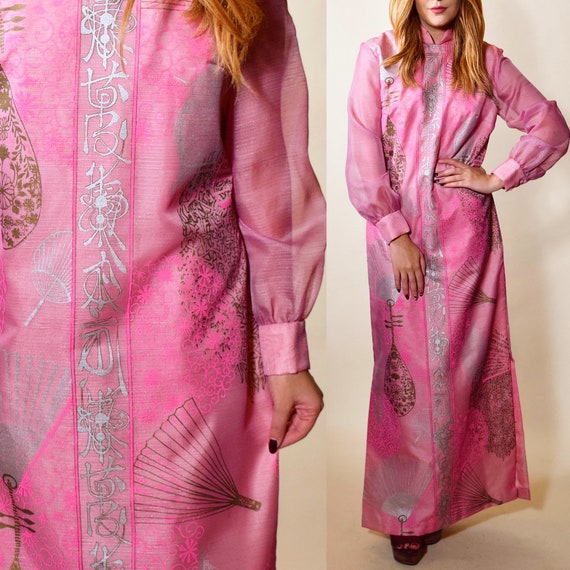 1970s rare Alfred shaheen vintage hot pink Mandarin / Oriental patterned high collar maxi dress  / formal gown women's size medium