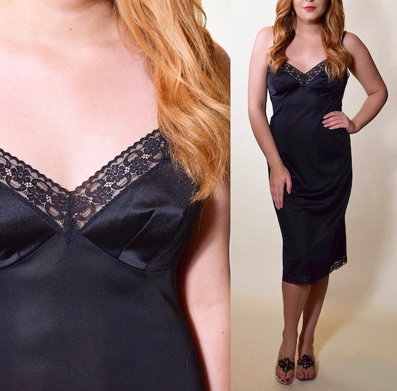 Authentic vintage black nylon and lace midi length Vanity Fair slip dress women's size medium