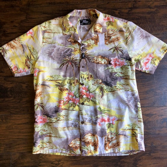 Authentic vintage Hawaiian palm tree floral button down shirt unisex size large