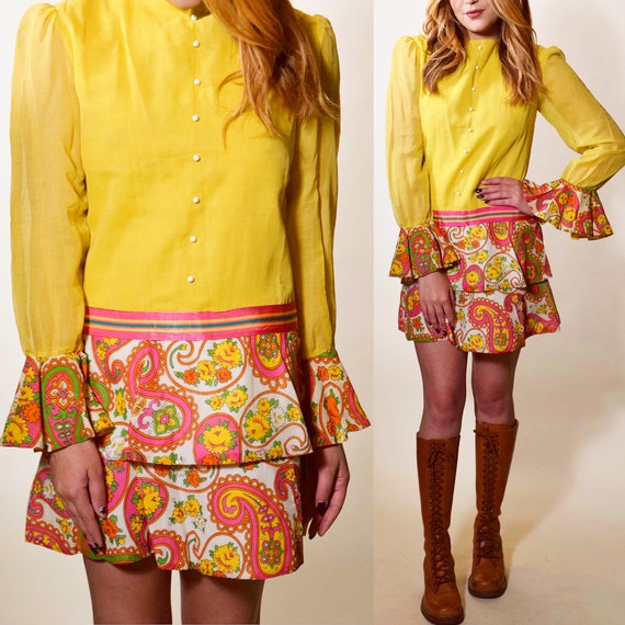 1960s vintage yellow + pink psychedelic hippie mod drop waist ruffle mini long sleeve dress women's size small