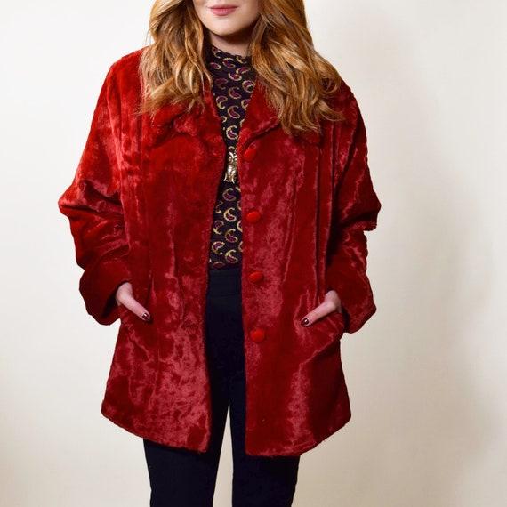 Rare authentic vintage red/maroon/wine faux fur button down coat women's size medium-large