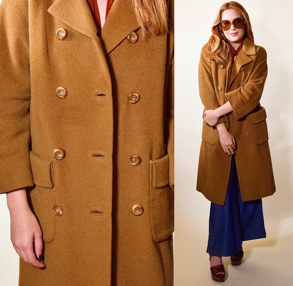 1960s Vintage double breasted camel brown long wool trench coat women's size Medium-large
