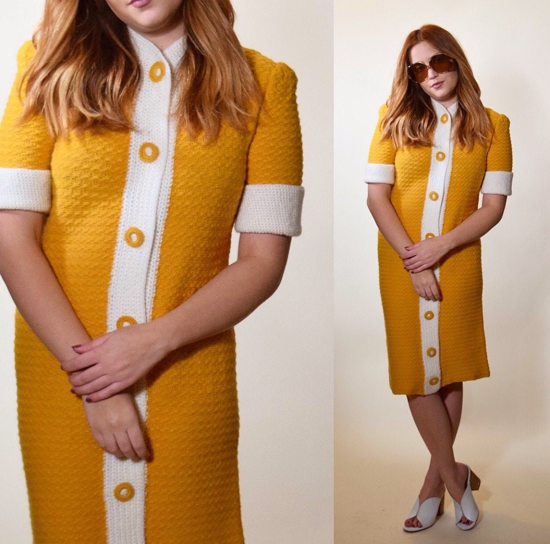 1940s Vintage Mustard Yellow Short Sleeve Button Down Sweater Dress