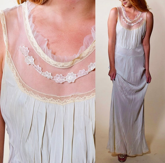 Authentic vintage 1930s RARE light sea foam green /blue silk + ivory antique lace bias cut nightgown women's size small