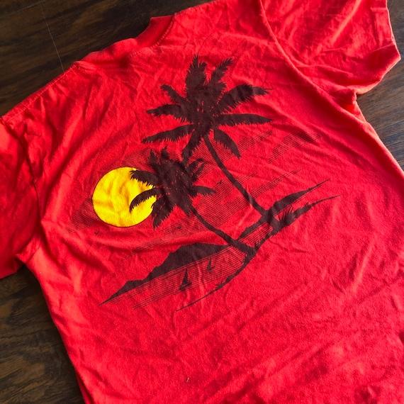 Vintage 1970's - 1980's red palm tree sunset thin souvenir travel tee shirt unisex S-M
