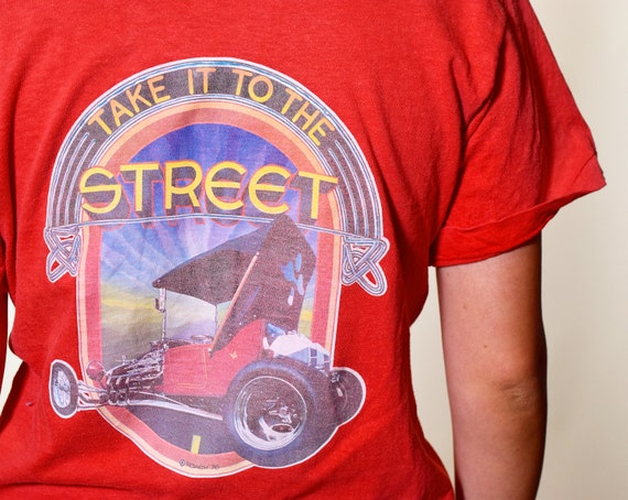 1970s authentic vintage Lodi International 1976 Street Rod Reunion 50/50 graphic tee unisex small