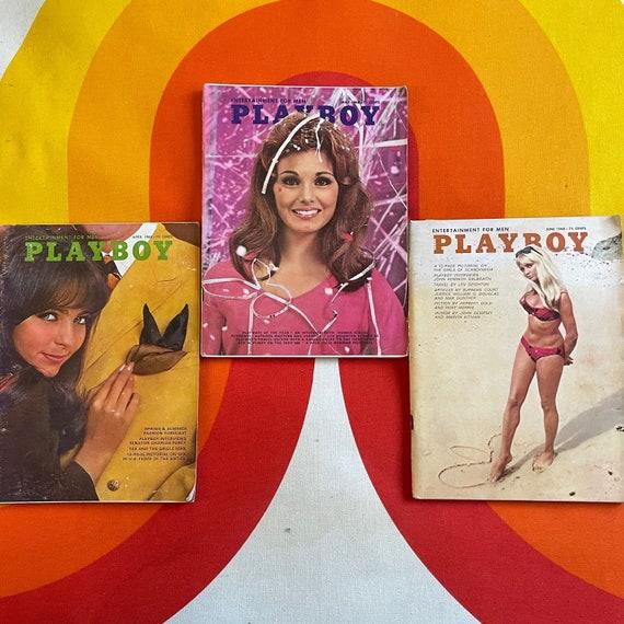 Authentic vintage lot of 3 1960s Playboy Magazine's