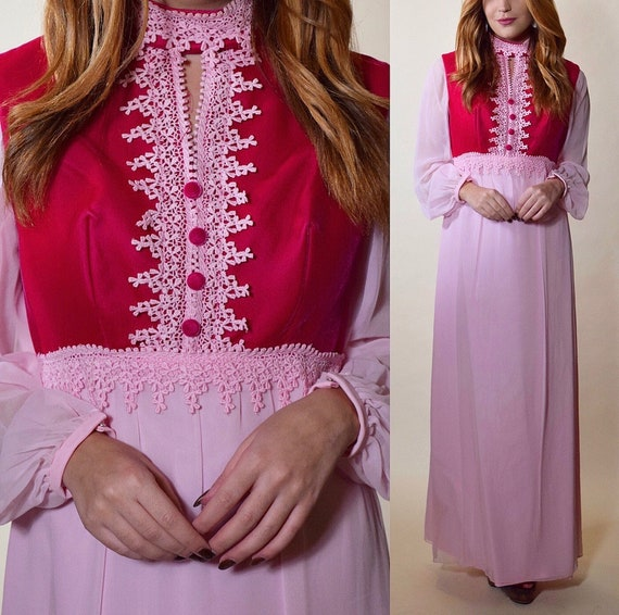 1970s vintage velveteen pink two tone high collar maxi dress/gown with poet long sleeve women's size Small