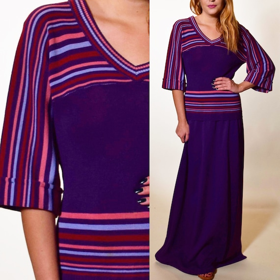 1970s authentic vintage purple maxi sweater dress women's size small - medium