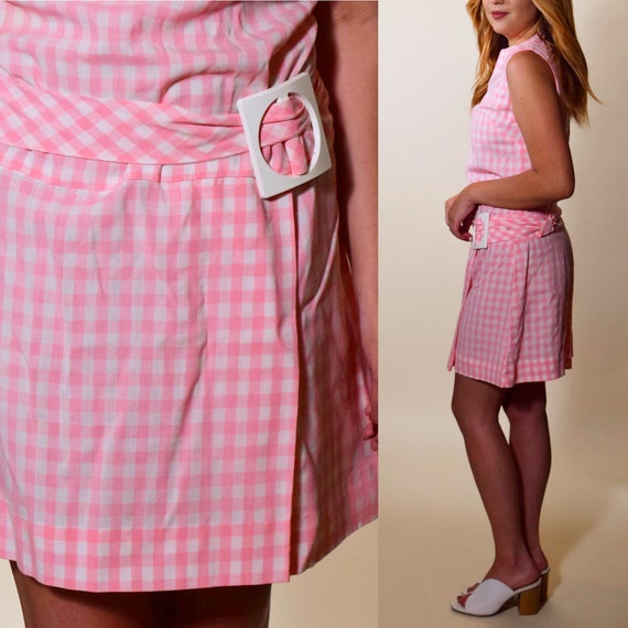 1960s authentic vintage pink + White gingham sleeveless mini dress with belt women's size Small