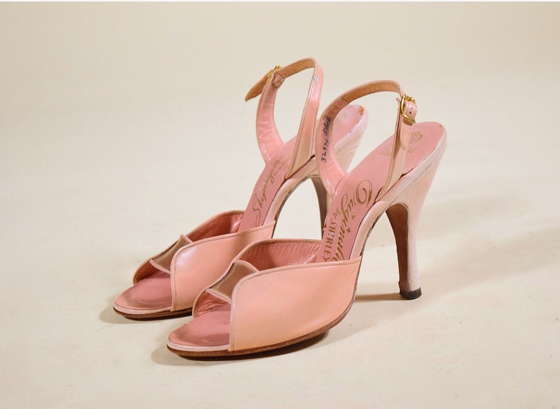 1940s 50s light pink open peep toe sling back 4 heels women s US size 5.5 3309ab1188