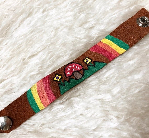 Hand painted one of a kind mushroom floral soft faux suede leather cuff snap bracelet hippie bohemian