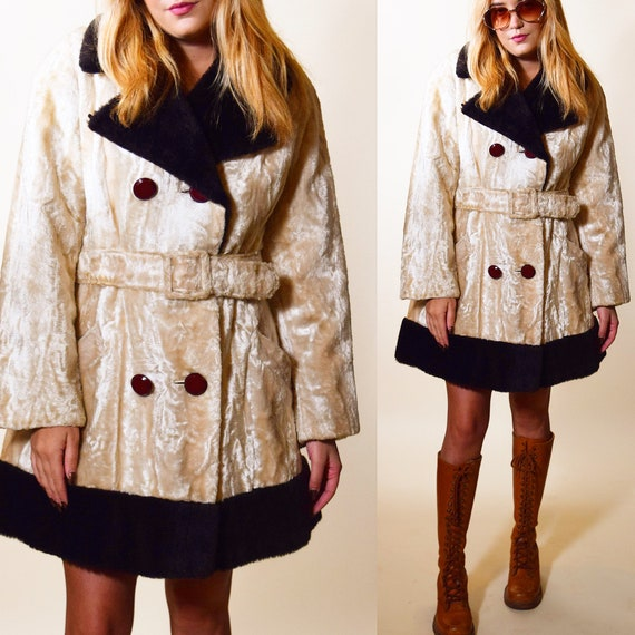 1960s authentic vintage beige crushed velvet should breasted belted coat women's size small