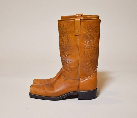 1970s vintage brown leather tooled square toe eagle boots men's size 9