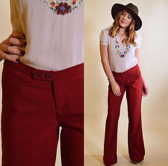 Vintage Rampage hip hugger low rise red maroon cuffed bell bottom pants women's size 6/7