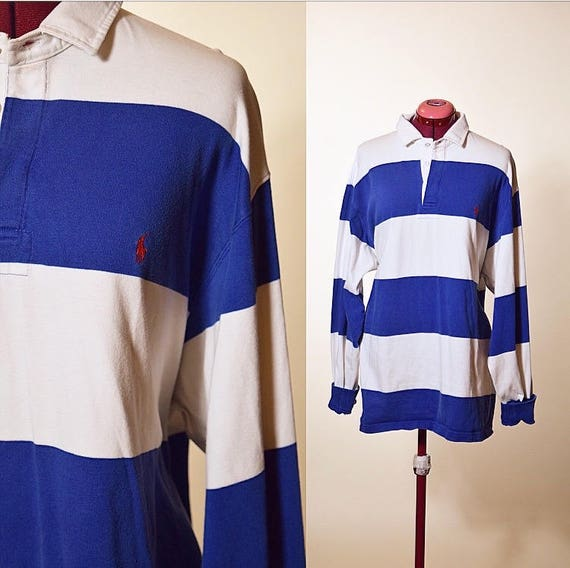 1990's vintage Polo by Ralph Lauren oversized collared stripe rugby shirt men's XL