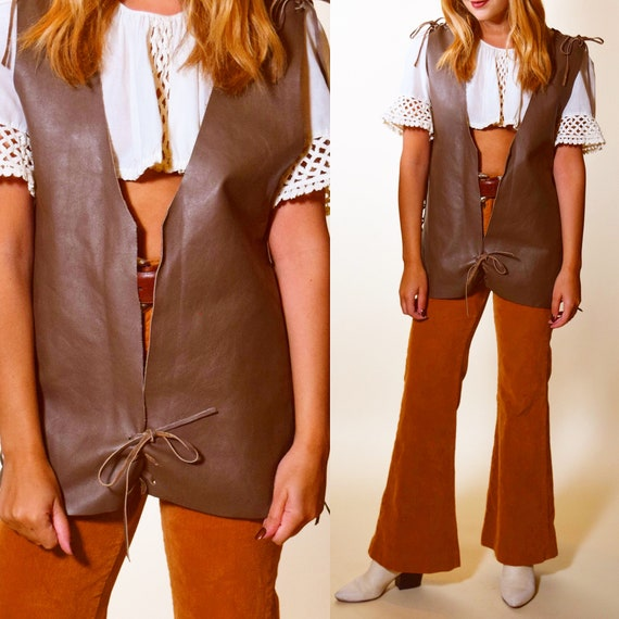 Vintage 1960's Handmade lace up front  fully lined suede leather vest unisex L-XL