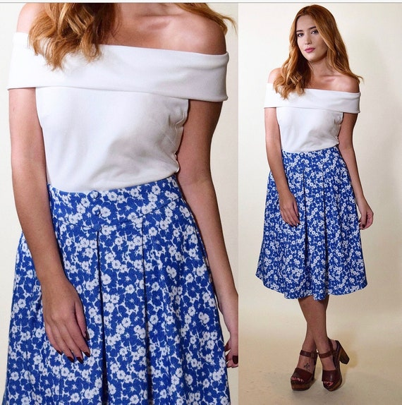 1950s RARE handmade vintage blue + white fit and flare mod preppy off the shoulder neck dress women's size small