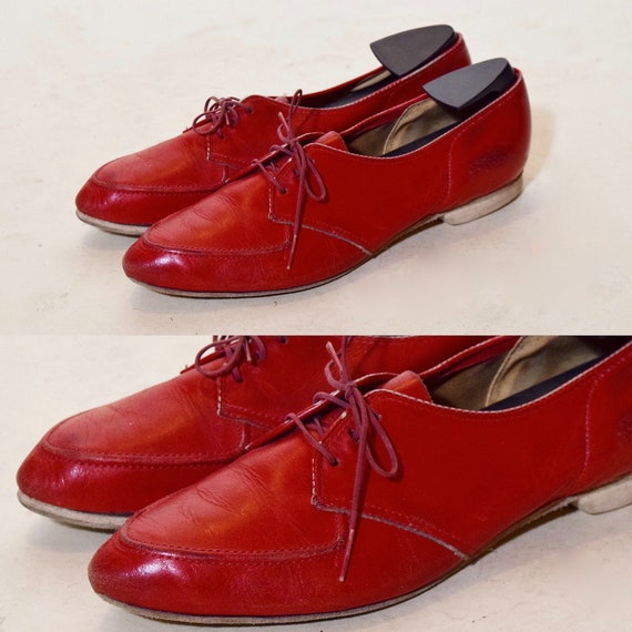 1950s authentic vintage rockabilly style red leather bowling shoes / oxfords / lace ups
