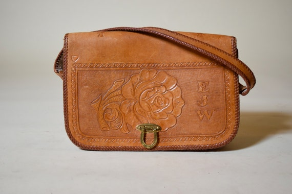Vintage 1970's hand tooled leather handbag / purse with floral roses hippie bohemian detail and initials with horseshoe brass closure