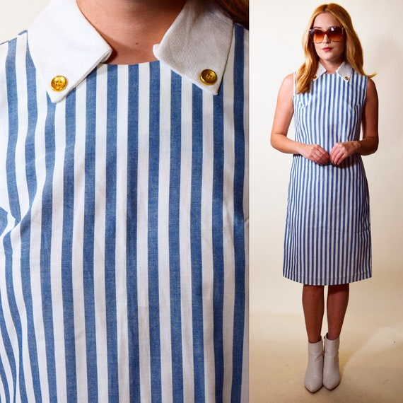 Authentic vintage light blue + white stripe sleeveless mid length shirtdress with collar women''s size small