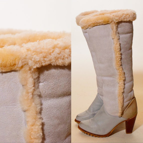 """1970s authentic vintage baby blue suede leather + sherpa fur knee high boots with 3"""" heel women's US size 8"""