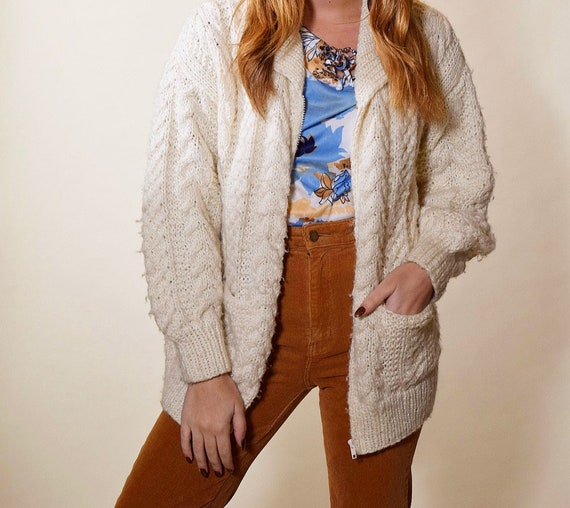 1970s-1980's vintage cable knit zip up classic  cardigan sweater women's size Large