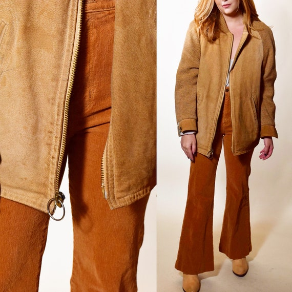 1950s authentic vintage suede zip up jacket with sweater knit sleeves unisex size medium