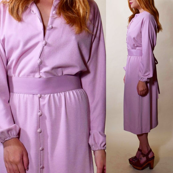 1970s vintage mauve purple long sleeve button down midi shirtdress with matching leather belt women's size medium -large