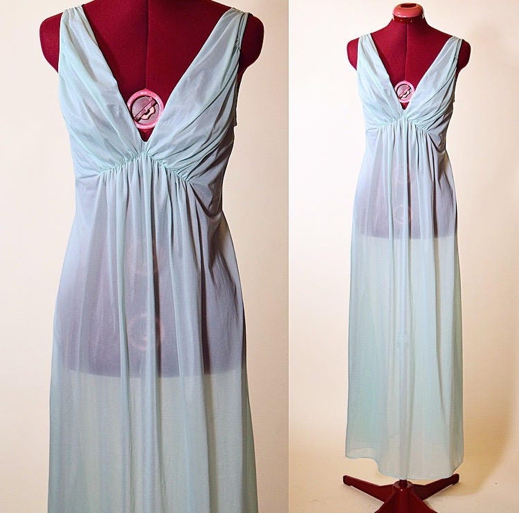 Vintage 1960\'s Vanity Fair baby aqua blue beautiful sheer v neck ...