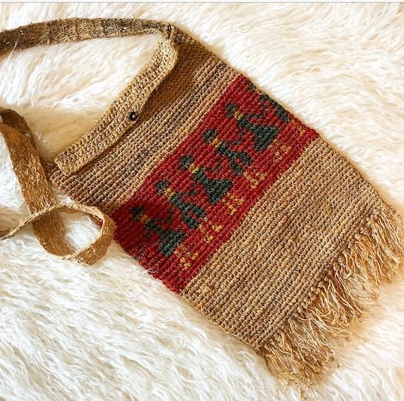 Vintage burlap woven aztec print fringe crossbody purse