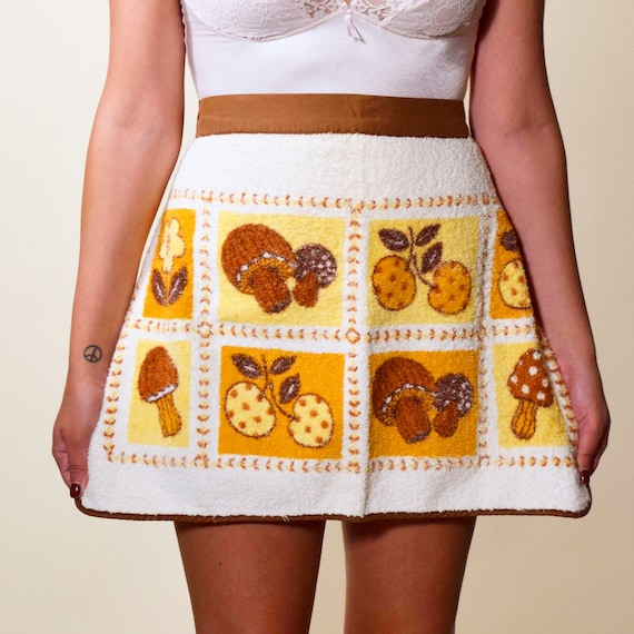 1960s vintage hippie psychedelic mushroom gold/brown/orange earth tone Terry cloth apron ONE SIZE