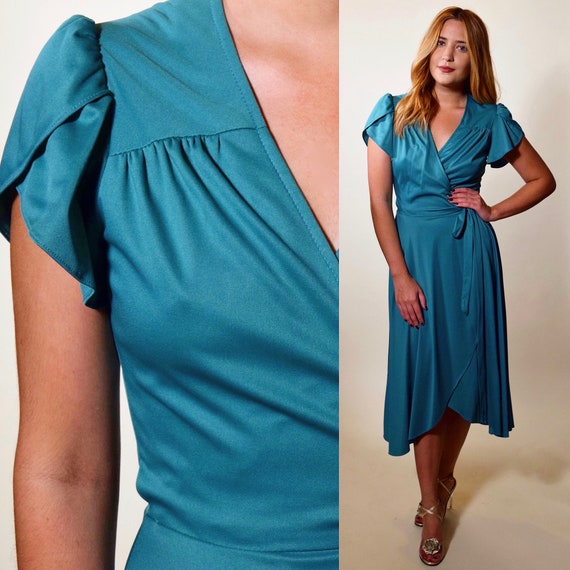 1970s authentic vintage teal blue wrap short sleeve disco wrap dress women's size small